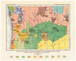 Antique Map of Northwest Indian Tribes 1894