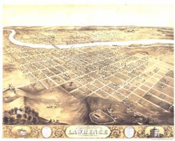 Antique Map of Lawrence, KS 1869