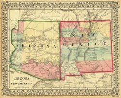 Antique Map of Arizona and New Mexico 1867