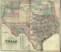 Antique Map of Texas 1872
