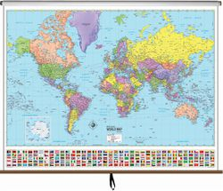 Pull Down World Map - World Map for Classroom - World Map On Roller