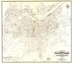 Antique Map of Louisville, KY 1873