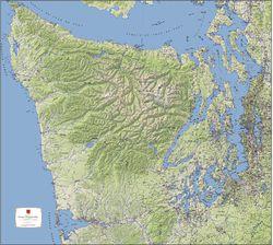 Olympic Peninsula Terrain Map by Kroll Map