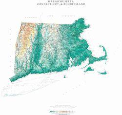 Massachusetts Connecticut & Rhode Island Wall Map l Raven Maps