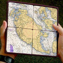 Nautical Chart Coaster Set - San Juan Island, 4 pack