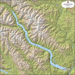 Lake Chelan Terrain Map by Kroll Map Company