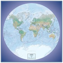 World Global View Physical Wall Map by Round World Products