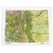 Colorado Raised Relief Map by Hubbard
