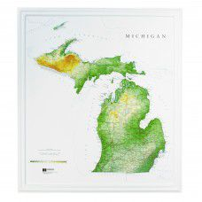 Michigan Raised Relief Map (Raven colors)