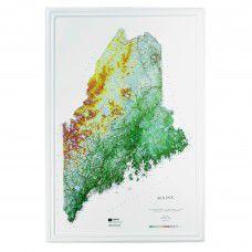 Maine Raised Relief Map (Raven colors)
