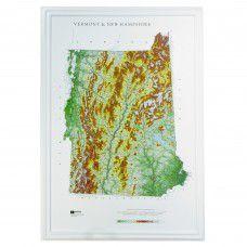 Vermont - New Hampshire Raised Relief Map (Raven colors)
