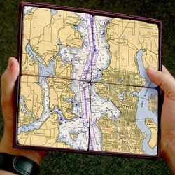 Nautical Chart Coaster Set - Seattle & Bainbridge Island, 4 pack