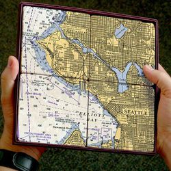 Nautical Chart Coaster Set - Seattle, Elliott Bay, 4 pack