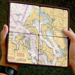 Nautical Chart Coaster Set - Whidbey Island, 4 pack