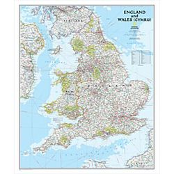 England & Wales Wall Map by National Geographic