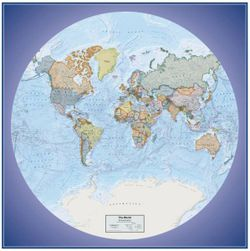 World Global View Political Wall Map by Round World Products
