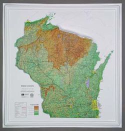 Wisconsin Raised Relief Map