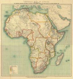 Antique Map of Africa 1909
