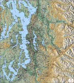 Greater Puget Sound Terrain (Shaded Relief) Map