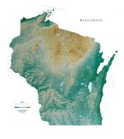Wisconsin State Topo Map by Raven Maps