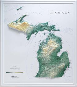 Michigan Raised Relief Map (Raven colors)