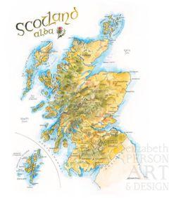 Scotland Watercolor Map Print l Elizabeth Person