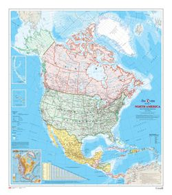 North America Wall Map by Canada Map Office