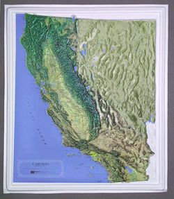 California Raised Relief Map by Hubbard