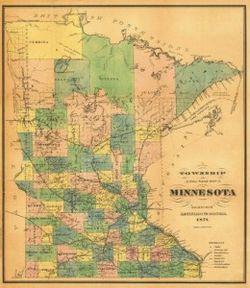 Antique Map of Minnesota 1874