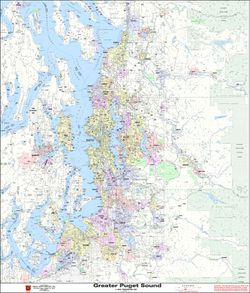 Greater Puget Sound Arterial Map by Kroll Map Company