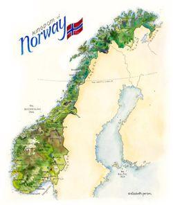 Norway Watercolor Map Print l Elizabeth Person