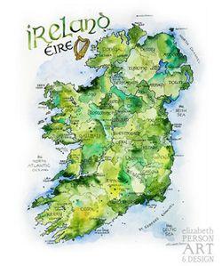 Ireland Watercolor Map Print l Elizabeth Person