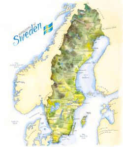 Sweden Watercolor Map Print l Elizabeth Person