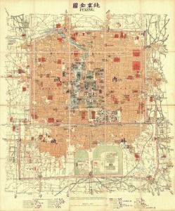 Antique Map of Beijing, China 1914