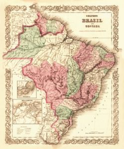 Antique Map of Brazil 1871