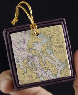 Whidbey Island Nautical Chart Ornament