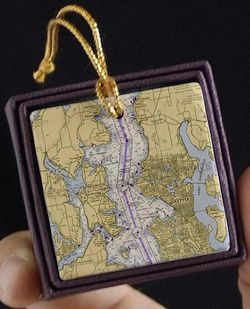 Seattle & Bainbridge Island Nautical Chart Ornament