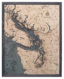 Salish Sea Woodchart Gray Frame