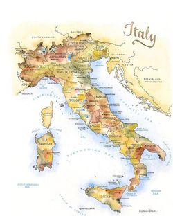 Italy Watercolor Map Print l Elizabeth Person
