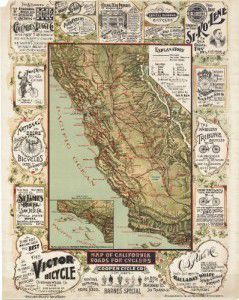 Antique Map of California 1895, Cycling Map