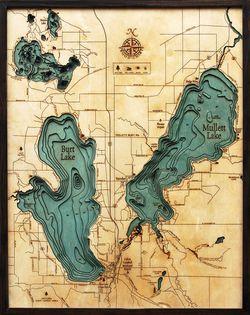 Burt & Mullet Lake, MI Woodchart
