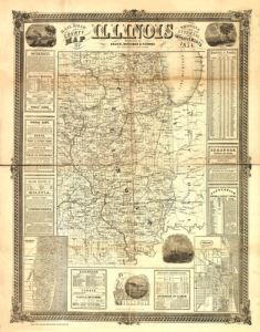 Antique Map of Illinois 1854