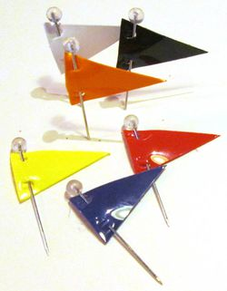 Map Pins, Pennant Shaped Map Flags