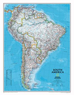 South America Wall Map by National Geographic