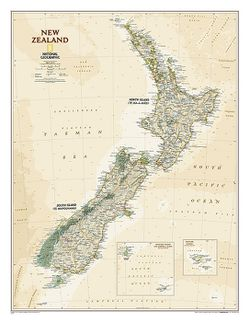 New Zealand Wall Map, Executive by National Geographic