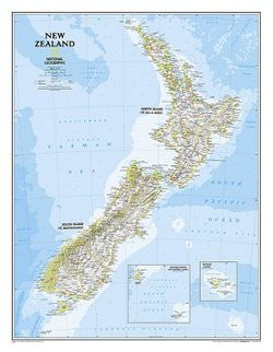New Zealand Wall Map by National Geographic