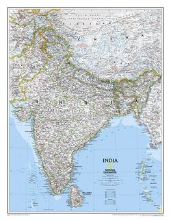 India Wall Map by National Geographic