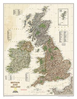 Britain & Ireland - Executive Series Map by National Geographic