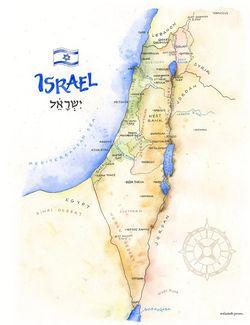 Israel Watercolor Map Print l Elizabeth Person