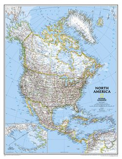 North America Wall Map by National Geographic